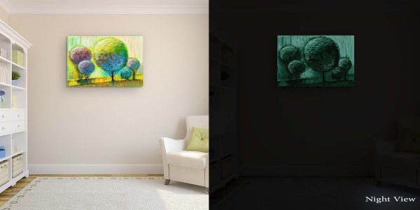 Canvas Wall Art - Abstract Rainbow Trees Painting Yellow Green 60 x 90 cm