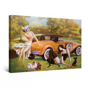 Canvas Wall Art - Abstract Orange Retro Car and Woman 60 x 90 cm