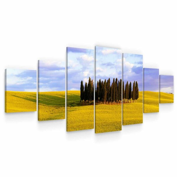 Huge Canvas Wall Art - Fir Tree Cluster In The Field Set of 7 Panels