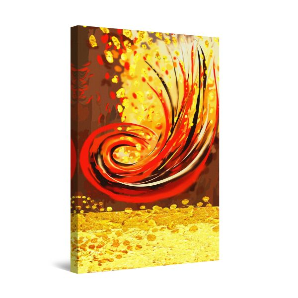 Canvas Wall Art - Red Waves Abstract Yellow 60 x 90 cm
