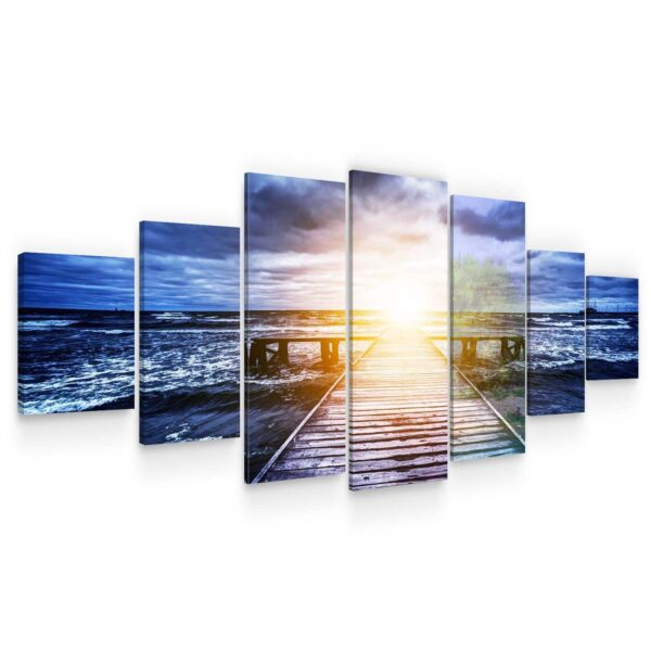 Huge Canvas Wall Art - Light In The End Of Way Set of 7 Panels