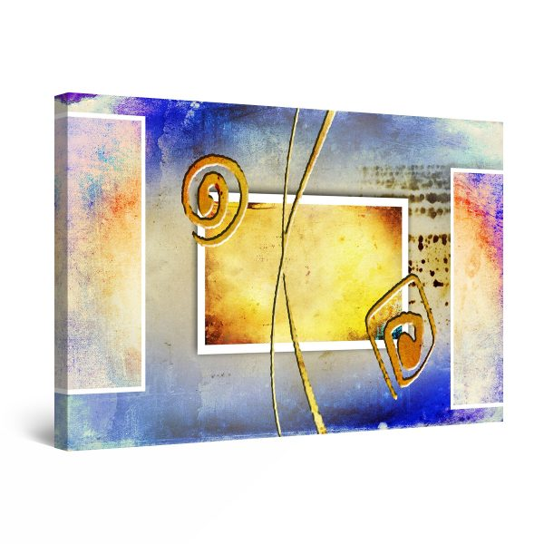 Canvas Wall Art - Yellow Blue  Abstract Geometric