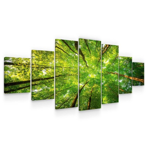 Huge Canvas Wall Art - Tops Of Trees I Set of 7 Panels