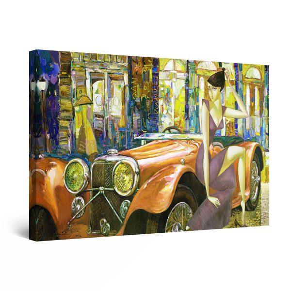 Canvas Wall Art - Golden Retro Car, Dog and Woman