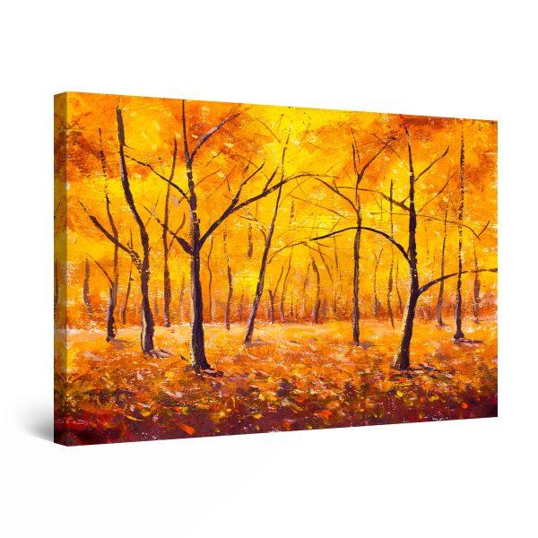 Canvas Wall Art - Golden Forest Trees 80 x 120 cm