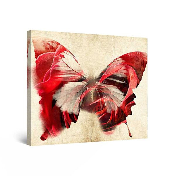 Canvas Wall Art - Red Butterfly, Butterfly Framed 80 x 80 cm