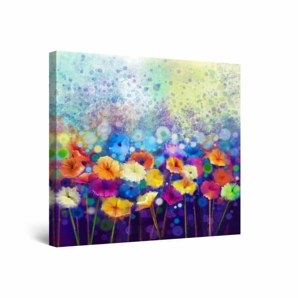Canvas Wall Art - Colored Flowers Watercolor 80 x 80 cm