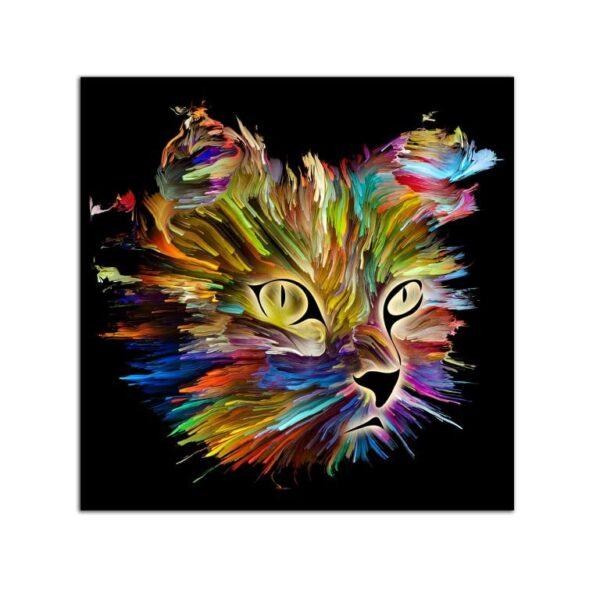 Plexiglass Wall Art - Multicolored Cat Decor 60 x 60 CM