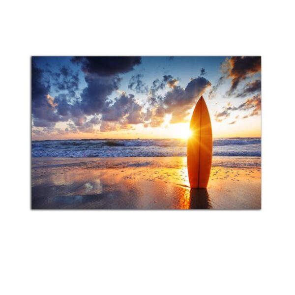 Plexiglass Wall Art - Sunset on the Beach and Surfing Decor  60 x 90 CM