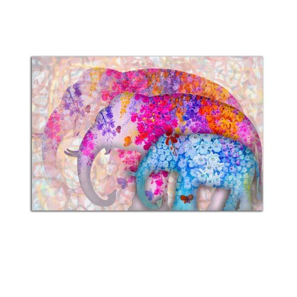 Plexiglass Wall Art - Family of Floral Elephants Decor  60 x 90 CM