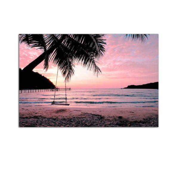 Plexiglass Wall Art - Purple Beach with Palm Trees Decor  60 x 90 CM