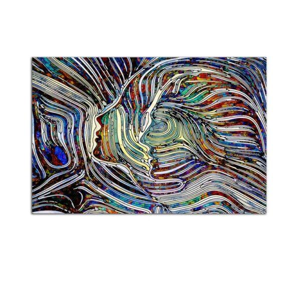 Plexiglass Wall Art - Portrait of Colored Shadows Decor  60 x 90 CM
