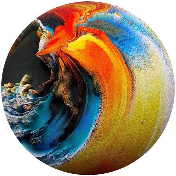 Plexiglass Wall Art - The Orange Blue Planet Round Decor 60 CM