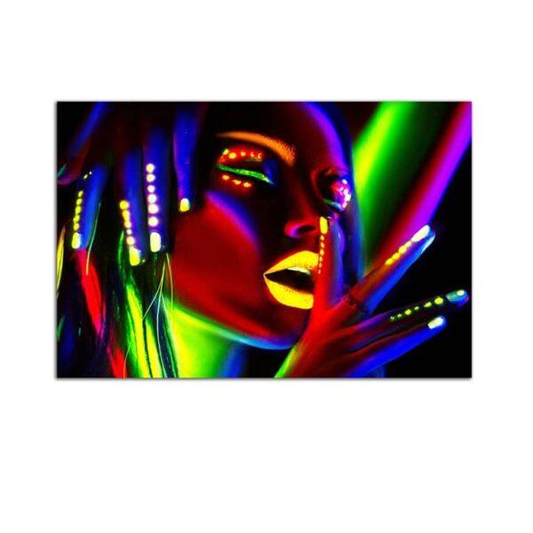 Plexiglass Wall Art - Woman with Bright Makeup Decor  60 x 90 CM