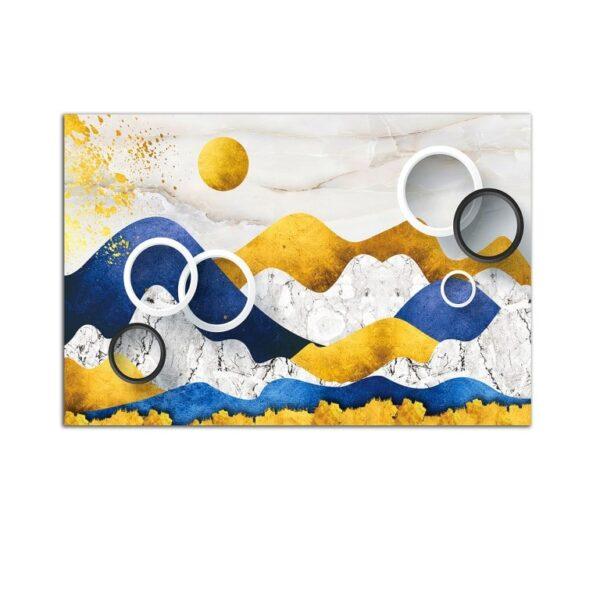Plexiglass Wall Art - Stylized Blue Yellow Landscape Decor  60 x 90 CM