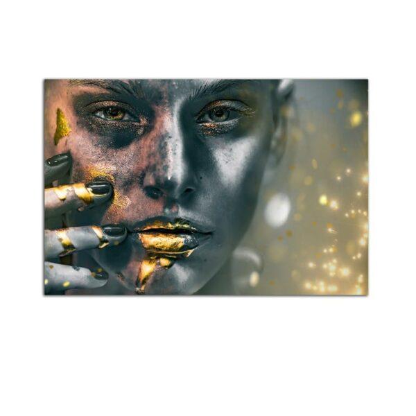 Plexiglass Wall Art - Woman with Golden Silver Metallic Makeup Decor  60 x 90 CM