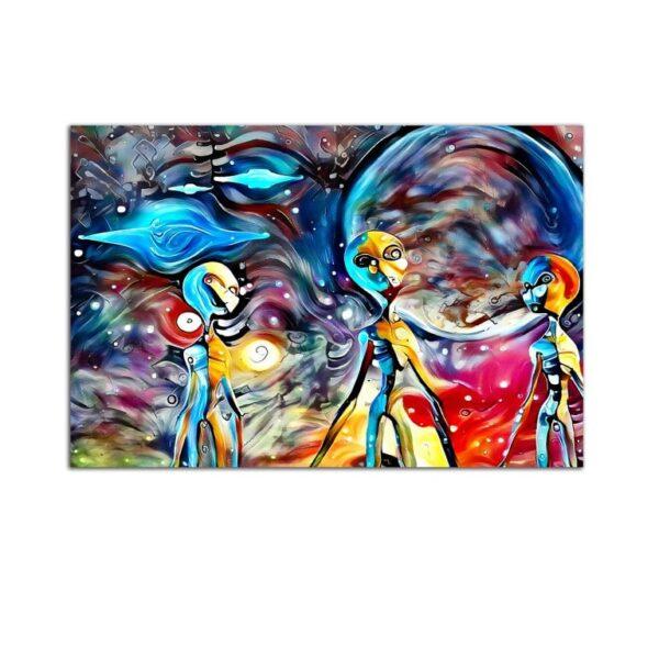 Plexiglass Wall Art - Purple Aliens Decor  60 x 90 CM