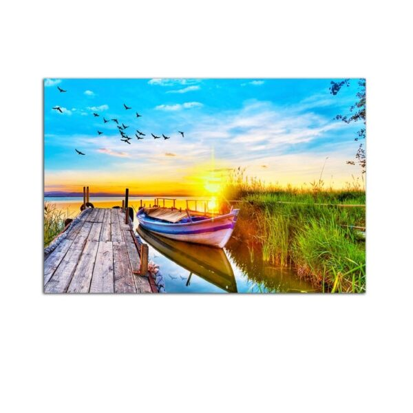 Plexiglass Wall Art - On the Sea by Boat at Sunset Decor  60 x 90 CM