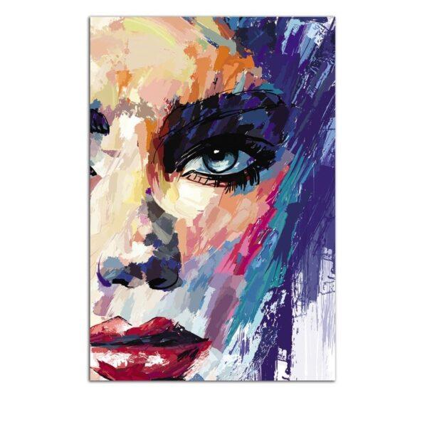 Plexiglass Wall Art - Multicolored Abstract Portrait Decor  60 x 90 CM