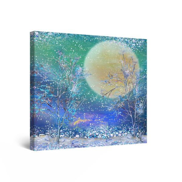 Canvas Wall Art Abstract - Full Moon Among Frozen Branches 80 x 80 cm
