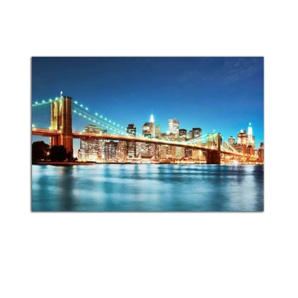 Plexiglass Wall Art - City Lights and Bridge over the River Decor  60 x 90 CM
