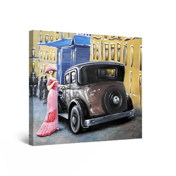 Canvas Wall Art Abstract - The Collection of Retro Black Cars 80 x 80 cm