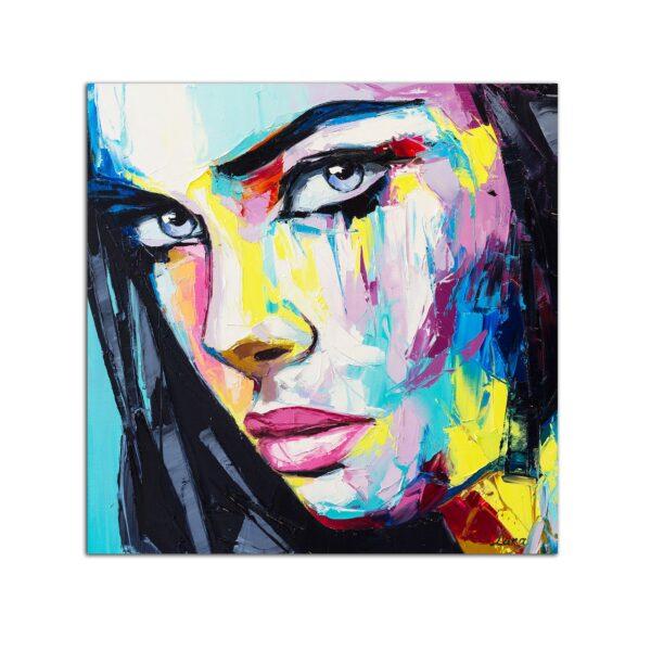 Plexiglass Wall Art - Colored Woman Portrait Decor 60 x 60 CM