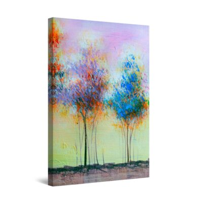 Canvas Wall Art - Abstract Two Trees Blue